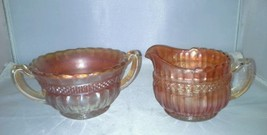 Northwood Lustre Flute Marigold Carnival Glass Sugar Bowl Creamer Antique - $14.99