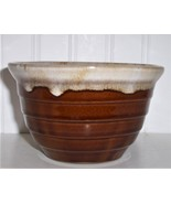 Vintage Small MONMOUTH POTTERY BOWL Brown Drip USA Maple Leaf - $13.86