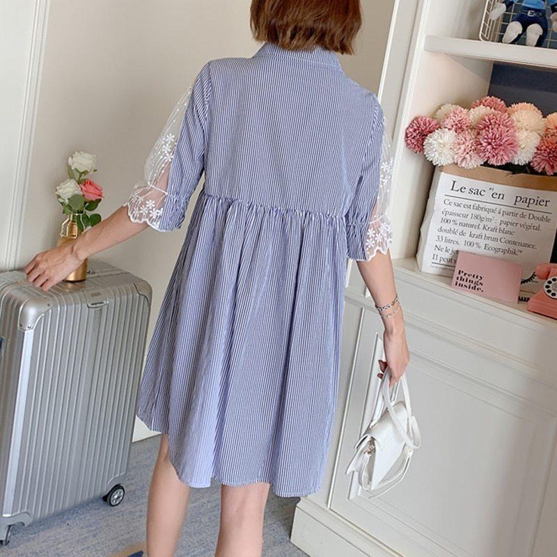 Maternity's Dress Turn Down Collar Stripe Short Sleeve Dress image 7