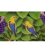 Hand painted Custom Framed Original Canvas Signed Art Jungle Bird Berrie... - $408.49