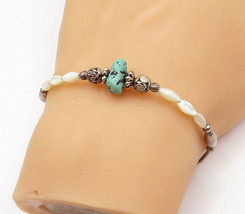 925 Silver - Vintage Turquoise & Mother Of Pearl Beaded Chain Bracelet -... - $27.09