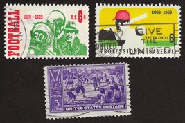 Lot of 3 US Postage STAMPS - 1939 and 1969 - BASEBALL & FOOTBALL - Used ... - $3.50