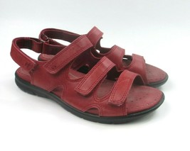 ECCO Red Leather Adjustable 3-Strap Comfort Sandals Women's size 5-5.5 / 36 - $32.32
