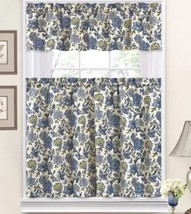 Traditions by Waverly Navarra Blue Porcelain Tier & Valance Set Floral - $19.79