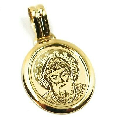 SOLID 18K YELLOW GOLD MEDAL, 20x18 mm, SAINT CHARBEL, OVAL