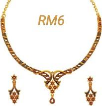 Matt Finish Indian Wedding & Party Wear Women's Necklace Earrings Jewelry Set - $19.79