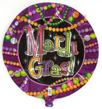 "Mardi Gras Beads Party Balloon 18"" Foil Mylar Decorations - $1.99"