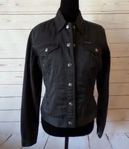 Harley Davidson Small Lined Snap Button Front Cotton Blend Black Moto Ja... - $17.47