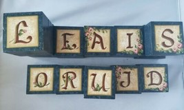 Home Altar Wooden Decorative Letter Blocks Blue Painted Letters Mantle S... - $12.88
