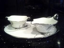 Vintage Art Nouveau/Japanese Influenced RS Porcelain Creamer/Sugar and T... - $49.50