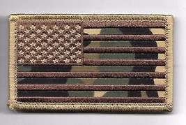 DESERT CAMO FLAG 2 X 3  EMBROIDERED PATCH WITH HOOK LOOP - $15.33