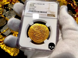 MEXICO 1715 NGC 58 FLEET SHIPWRECK 8 ESCUDOS PIRATE GOLD COINS TREASURE COB - $29,950.00