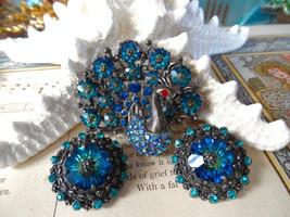 WEISS SIGNED Vintage RARE SET MARGARITA PEACOCK SET BROOCH EARRING PIN J... - $129.99