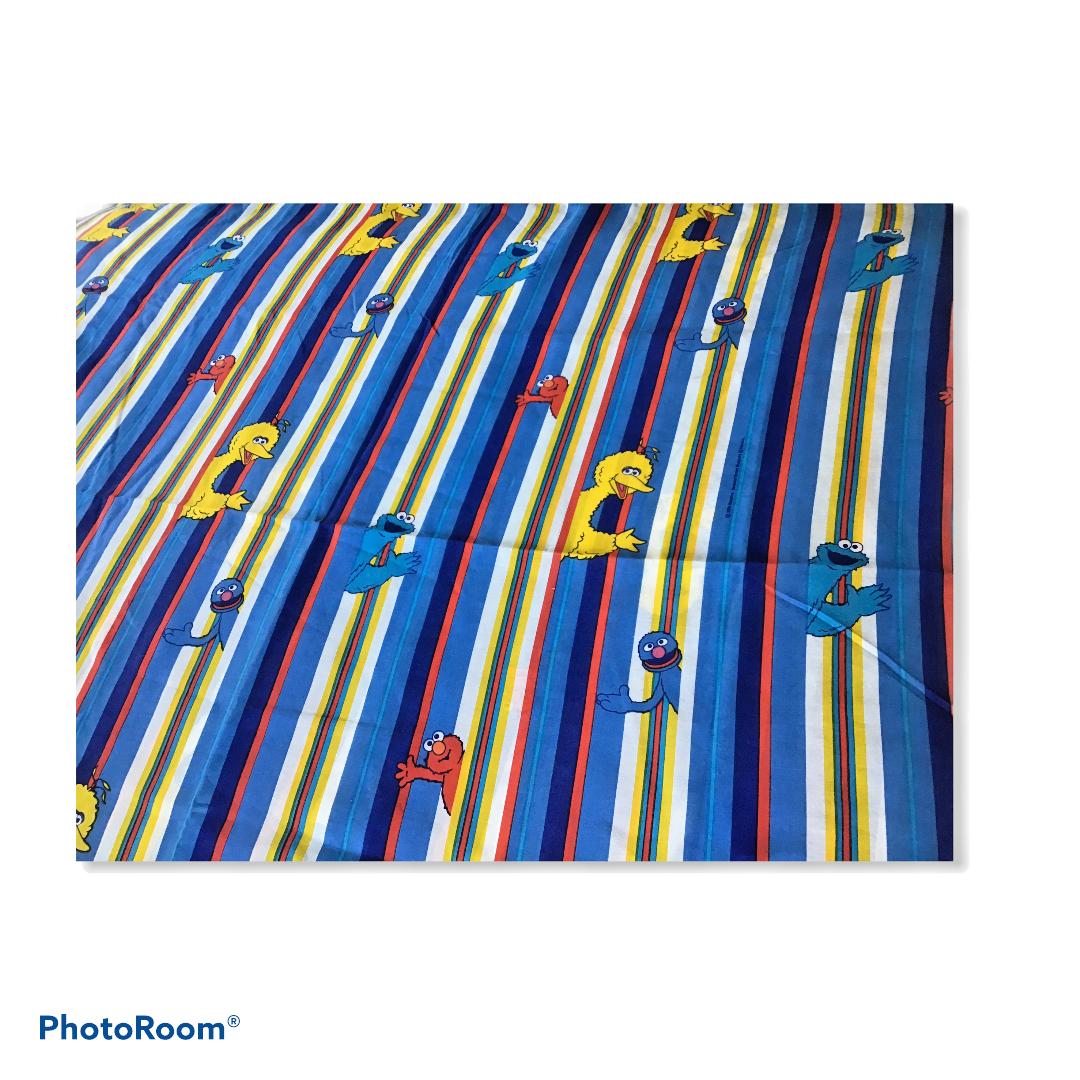 Sesame Street Twin Bedding Set Flat Fitted Pillowcase 2000 Stripes Big Bird Elmo - $29.69