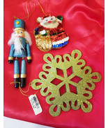 nut cracker snowflake santa ornaments decorations glittery sequins crafts - $3.99