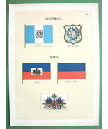 FLAGS of Guatemala & Haiti Coat of Arms !! 1899 Antique COLOR Litho Print - $9.45