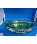 Oval shape Green Vaseline Glass two compartment relish dish w caddie. - $25.00