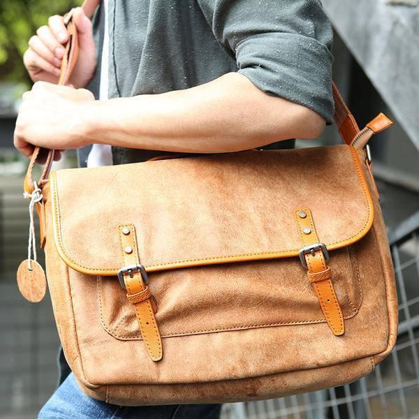 Sale, Retro Men Messenger Bag, Full Grain Leather Briefcase, Tote, Laptop Bag image 2