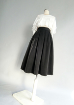 Black Midi Party Skirt Outfit Glitter Black A-line Midi Skirt High Waisted image 3