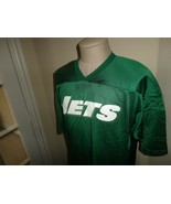 Vtg 90's Green Majestic New York Jets Play Screen Nylon NFL Jersey Adult L - $29.69