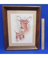 1970s Paul Whitney Doe & Fawn Print Framed In Dark Distressed Wood Signe... - $19.79