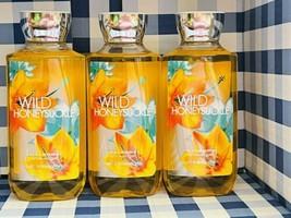 3 X Bath & Body Works WILD HONEYSUCKLE Body Wash Shower Gel 10 oz NEW - $29.50
