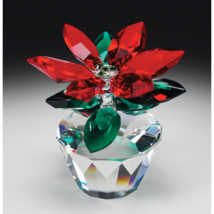 Crystal World Poinsettia  Figurine New In Box - $69.29