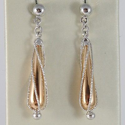 GOLD EARRINGS PINK WHITE 750 18K HANGING DROP SPIRAL 3.2 CM, MADE IN ITALY