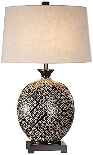 Uttermost Kelda Gloss Black Tribal Ceramic Jug Table Lamp image 1