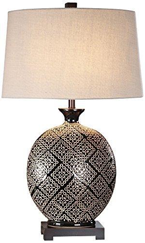 Uttermost Kelda Gloss Black Tribal Ceramic Jug Table Lamp