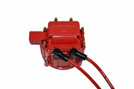SBF Ford 289 302 5.0L HEI Distributor 65K Coil 8mm Red Silicone Spark Plug Wires image 7