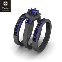 Blue Sapphire Engagement Rings For Womens Gun Metal Fn Solid 925 Sterling Silver - $164.99
