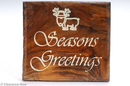 "Walnut Wooden Christmas Plaque ""Season's Greetings"" w/ Reindeer Handmade... - $12.82"