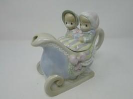 "Enesco 1994 Precious Moments Sleigh Teapot 7.5""W Tea For Two - $14.80"
