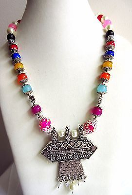 Indian Bollywood Pearls Necklace Oxidized Pendant Women's Fashion Jewelry image 4