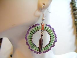 Northern Cheyenne Multi Hue Green & Purple Bead... - $6.00