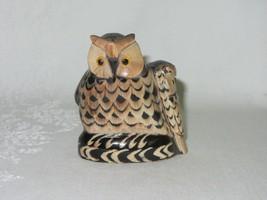 "Carved Buffalo Horn Vintage Owl w Baby Bird Figurine Art Sculpture 2 5/8"" H - $33.65"