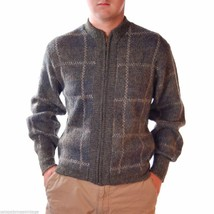 NWT Robert Bruce Vintage Mens Plaid  Zip Sweater Fleecemore 1970S  M Gra... - $40.50