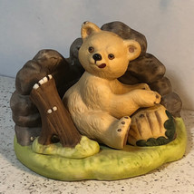 Franklin Mint Woodland Surprises Bear Figurine Porcelain Jacqueline Smith Teddy - $29.65