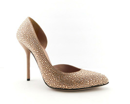 GUCCI Size 7 Blush Nude Crystal d'Orsay Cut Heels Pumps Shoes 37 Eur - $489.00