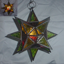 Hanging jewel glass moroccan star candle holder metal frame multicolor l... - $31.00
