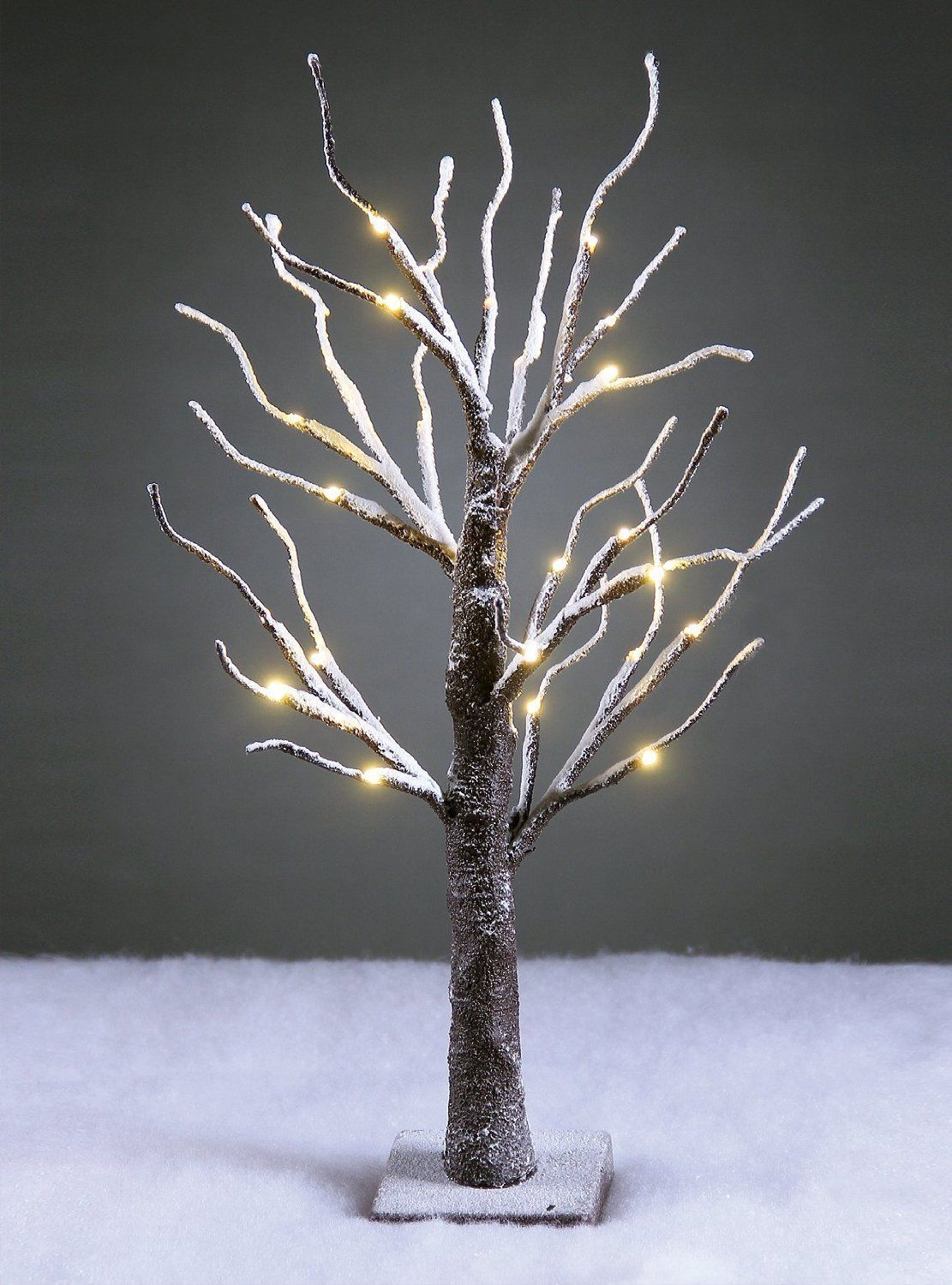 New Lightshare 24L LED lighted bonsai snow covered winter decoration battery run