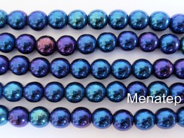 50 6 mm Czech Glass Round Beads: Iris - Blue - $2.71