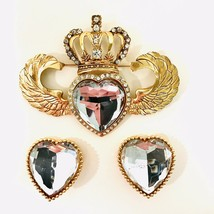 R. Serbin Vintage 1980's Signed Couture Crystal Heart Brooch And Earring... - $171.62