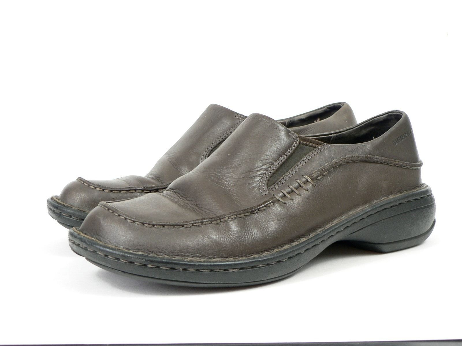 Womens Brown Merrell Tetra Moc Shoes Size 7M Leather Mules Casual Shoes Slip Ons