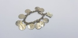 Vintage (10) Ten Commandments Silver Tone Bracelet W/ Mother Of Pearl Bible - $15.44