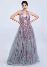 Beautiful Blush Grey Net Gown6067 - $1,169.00