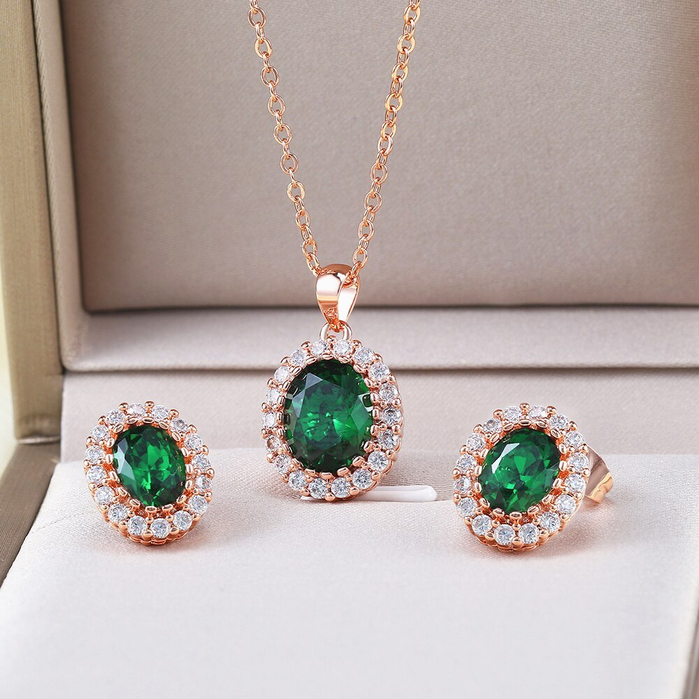 Primary image for 5 Colors Bridal Wedding Set For Women Green Crystal Necklace & Earrings Rose Gol