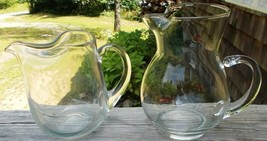 ~~ Lot Of 2 Vintage Clear Glass Pitchers With Ice Lips ~~ 10 oz. & 24 Oz... - $15.00