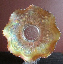ANTIQUE FENTON CARNIVAL GLASS BOWL PEACOCK GRAPE MARIGOLD IRIDESCENT AS ... - $14.84